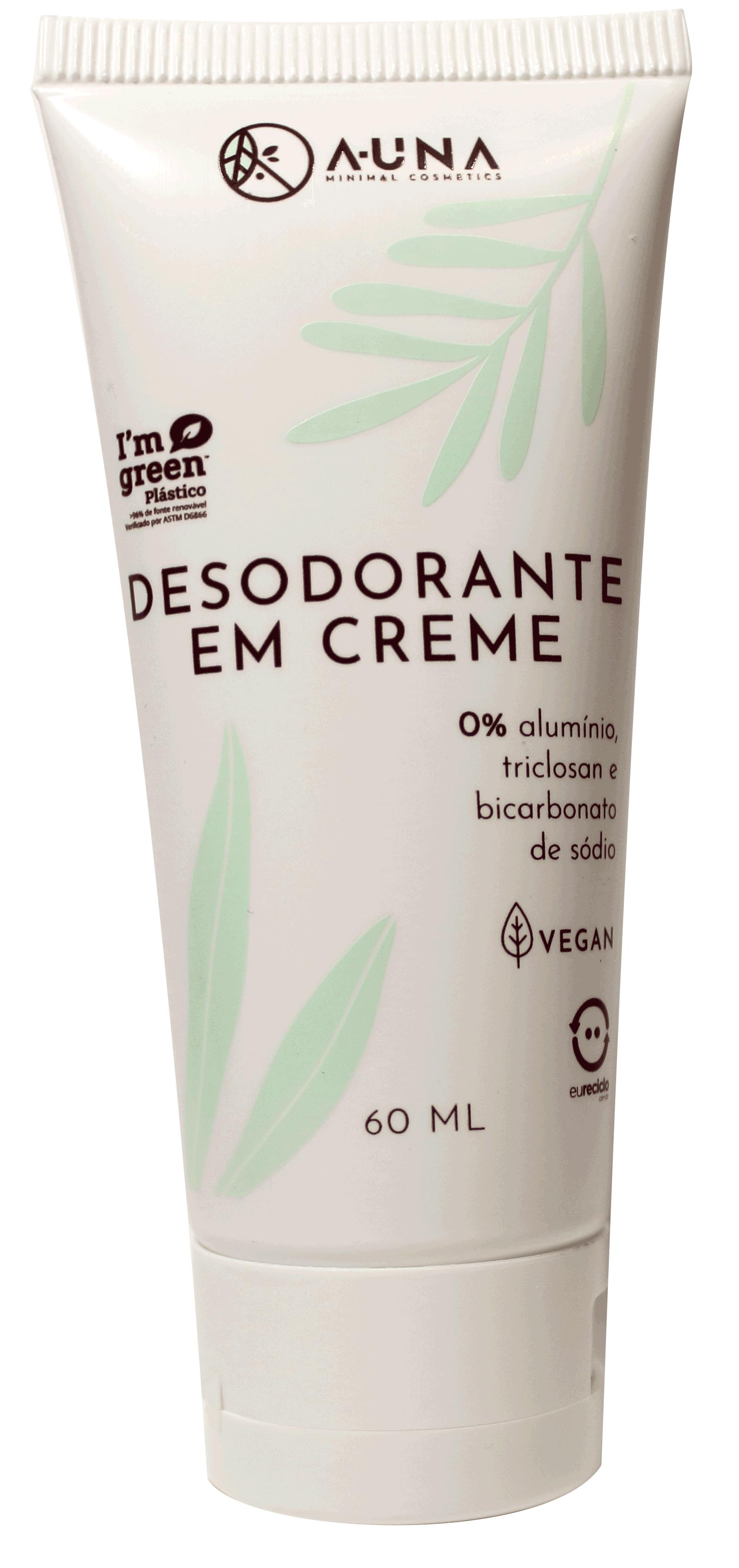 Desodorante em creme A-UNA - 0% Alumínio, Triclosan e Bicarbonato de Sódio - 60ml